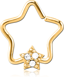 GOLD PVD COATED SURGICAL STEEL GRADE 316L JEWELED OPEN STAR SEAMLESS RING - STAR