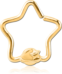 GOLD PVD COATED SURGICAL STEEL GRADE 316L OPEN STAR SEAMLESS RING