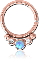 ROSE GOLD PVD COATED SURGICAL STEEL GRADE 316L JEWELED SEAMLESS RING