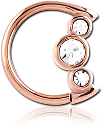 ROSE GOLD PVD COATED SURGICAL STEEL GRADE 316L JEWELED OPEN MOON SEAMLESS RING
