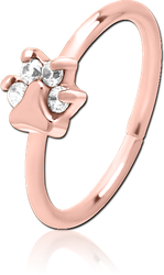 ROSE GOLD PVD COATED SURGICAL STEEL GRADE 316L JEWELED SEAMLESS RING - PAW