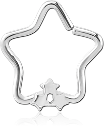 SURGICAL STEEL GRADE 316L OPEN STAR SEAMLESS RING - TRIPLE STAR