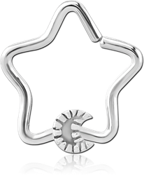 SURGICAL STEEL GRADE 316L OPEN STAR SEAMLESS RING - CRESCENT