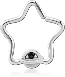 SURGICAL STEEL GRADE 316L JEWELED OPEN STAR SEAMLESS RING
