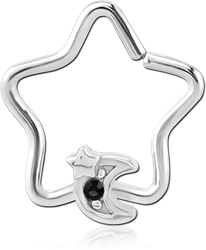 SURGICAL STEEL GRADE 316L JEWELED OPEN STAR SEAMLESS RING - CRESCENT AND STAR