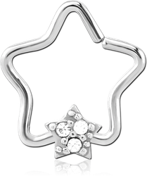 SURGICAL STEEL GRADE 316L JEWELED OPEN STAR SEAMLESS RING - STAR