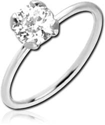 14 KARAT GOLD WHITE SEAMLESS RING PRONG SET CZ