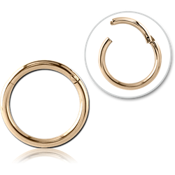 ZIRCON GOLD PVD COATED SURGICAL STEEL GRADE 316L HINGED SEGMENT RING