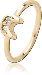 ZIRCON GOLD PVD COATED SURGICAL STEEL GRADE 316L JEWELED SEAMLESS RING - CRESCENT