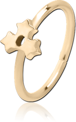 ZIRCON GOLD PVD COATED SURGICAL STEEL GRADE 316L SEAMLESS RING - TRIPLE STAR