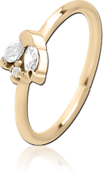 ZIRCON GOLD PVD COATED SURGICAL STEEL GRADE 316L JEWELED SEAMLESS RING