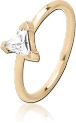 ZIRCON GOLD PVD COATED SURGICAL STEEL GRADE 316L JEWELED SEAMLESS RING - TRIANGLE