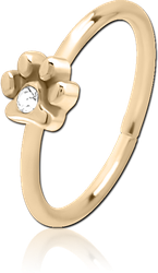 ZIRCON GOLD PVD COATED SURGICAL STEEL GRADE 316L JEWELED SEAMLESS RING - PAW