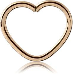 ZIRCON GOLD PVD COATED SURGICAL STEEL GRADE 316L OPEN HEART SEAMLESS RING