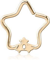 ZIRCON GOLD PVD COATED SURGICAL STEEL GRADE 316L OPEN STAR SEAMLESS RING - TRIPLE STAR