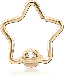 ZIRCON GOLD PVD COATED SURGICAL STEEL GRADE 316L JEWELED OPEN STAR SEAMLESS RING