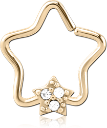 ZIRCON GOLD PVD COATED SURGICAL STEEL GRADE 316L JEWELED OPEN STAR SEAMLESS RING - STAR