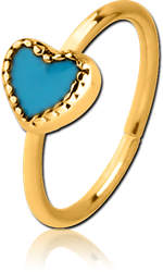 GOLD PVD COATED SURGICAL STEEL GRADE 316L SEAMLESS RING - HEART