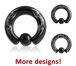 BLACK PVD COATED SURGICAL STEEL GRADE 316L LASER ETCHED BALL CLOSURE RING