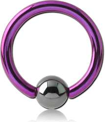ANODISED TITANIUM ALLOY BALL CLOSURE RING WITH HEMATITE BALL
