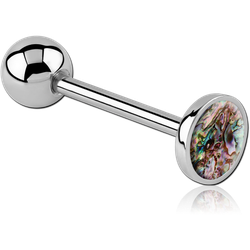 SURGICAL STEEL GRADE 316L FLAT ORGANIC SYNTHETIC MOTHER OF PEARL BARBELL