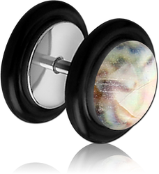 SURGICAL STEEL GRADE 316L ORGANIC SYNTHETIC MOTHER OF PEARL FAKE PLUG