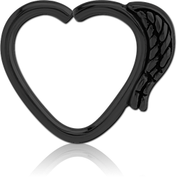 BLACK PVD COATED SURGICAL STEEL GRADE 316L OPEN HEART SEAMLESS RING