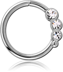 SURGICAL STEEL GRADE 316L VALUE JEWELED SEAMLESS RING -LEFT
