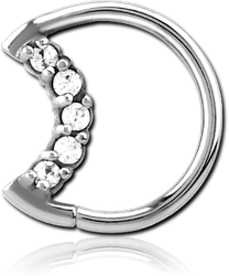 SURGICAL STEEL GRADE 316L JEWELED OPEN SEAMLESS RING - RIGHT - MOON