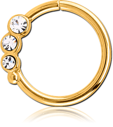 GOLD PVD COATED SURGICAL STEEL GRADE 316L VALUE JEWELED SEAMLESS RING - RIGHT - TRIPLE GEM