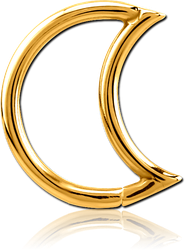GOLD PVD SURGICAL STEEL GRADE 316L OPEN MOON SEAMLESS RING