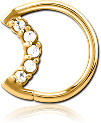 GOLD PVD COATED SURGICAL STEEL GRADE 316L JEWELED OPEN SEAMLESS RING