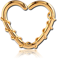 GOLD PVD COATED SURGICAL STEEL GRADE 316L OPEN HEART SEAMLESS RING