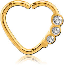 GOLD PVD COATED SURGICAL STEEL GRADE 316L OPEN HEART SEAMLESS RING - LEFT