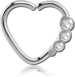 SURGICAL STEEL GRADE 316L VALUE JEWELED HEART OPEN SEAMLESS RING - LEFT