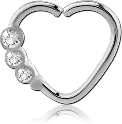 SURGICAL STEEL GRADE 316L VALUE JEWELED HEART OPEN SEAMLESS RING - RIGHT
