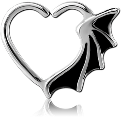 SURGICAL STEEL GRADE 316L OPEN HEART SEAMLESS RING - BAT WING