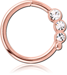 ROSE GOLD PVD COATED SURGICAL STEEL GRADE 316L VALUE JEWELED SEAMLESS RING - LEFT