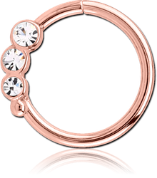 ROSE GOLD PVD COATED SURGICAL STEEL GRADE 316L VALUE JEWELED SEAMLESS RING - RIGHT