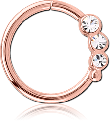 ROSE GOLD PVD COATED SURGICAL STEEL GRADE 316L JEWELED SEAMLESS RING - LEFT