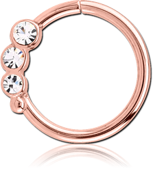 ROSE GOLD PVD COATED SURGICAL STEEL GRADE 316L JEWELED SEAMLESS RING - RIGHT
