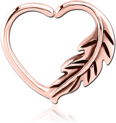 ROSE GOLD PVD COATED SURGICAL STEEL GRADE 316L OPEN HEART SEAMLESS RING - LEFT