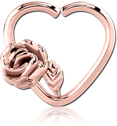 ROSE GOLD PVD COATED SURGICAL STEEL GRADE 316L OPEN HEART SEAMLESS RING - RIGHT