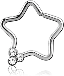 SURGICAL STEEL GRADE 316L TIRPLE GEM JEWELED OPEN STAR SEAMLESS RING