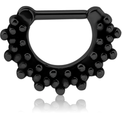 BLACK PVD COATED SURGICAL STEEL GRADE 316L HINGED SEPTUM CLICKER