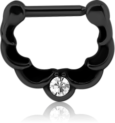 BLACK PVD COATED SURGICAL STEEL GRADE 316L ROUND JEWELED HINGED SEPTUM CLICKER