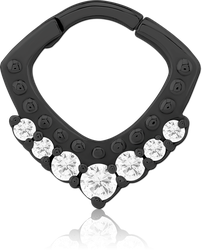 BLACK PVD COATED SURGICAL STEEL GRADE 316L JEWELED HINGED SEPTUM CLICKER RING