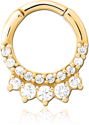 GOLD PVD COATED SURGICAL STEEL GRADE 316L JEWELED HINGED SEPTUM CLICKER RING