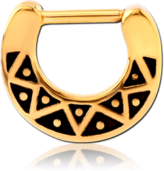GOLD PVD COATED SURGICAL STEEL GRADE 316L HINGED SEPTUM CLICKER