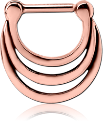 ROSE GOLD PVD COATED SURGICAL STEEL GRADE 316L HINGED SEPTUM CLICKER